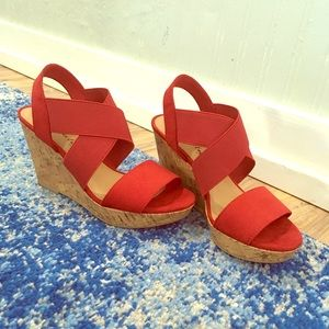 American Eagle Red Strap Wedges